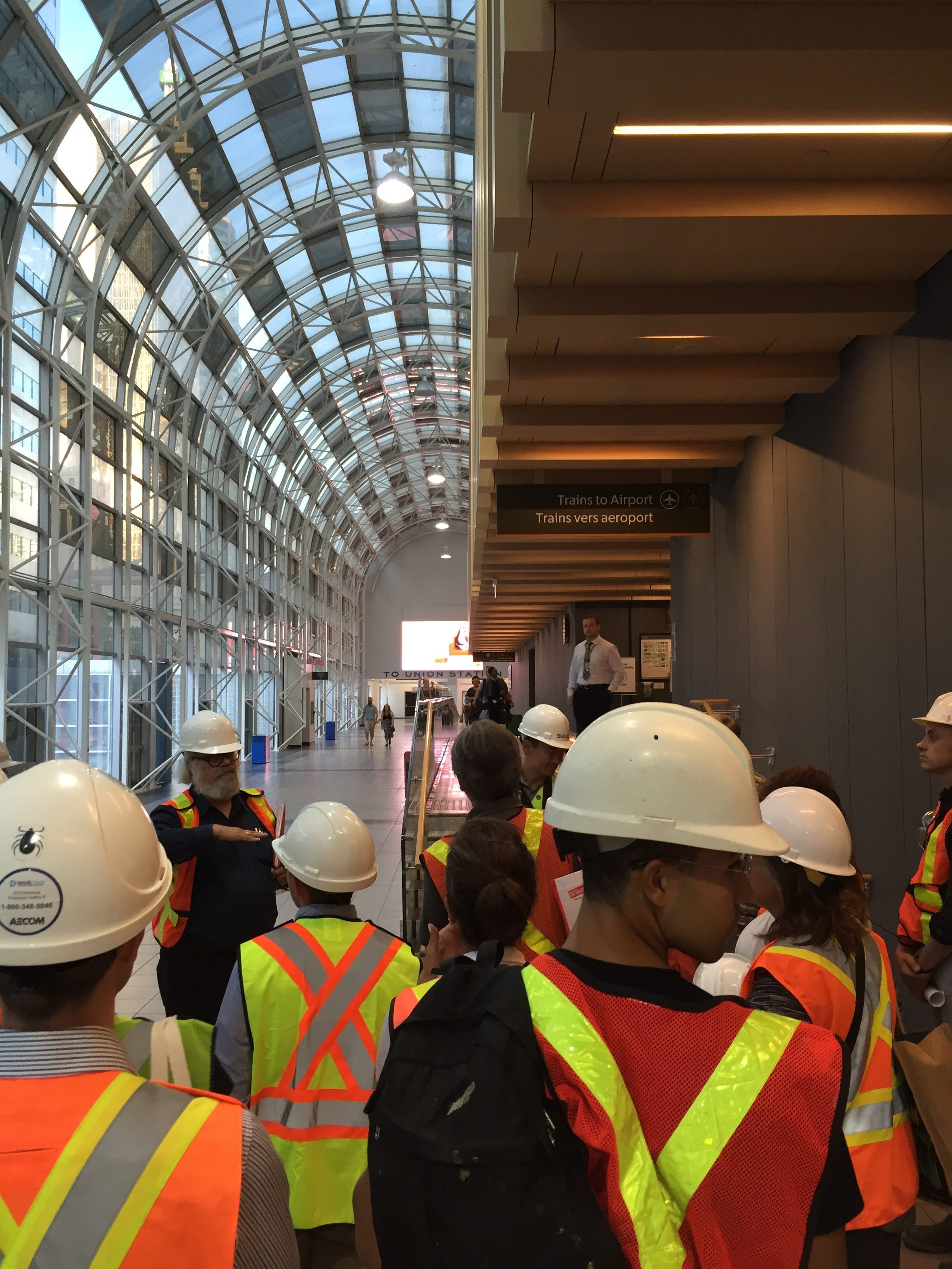 Tour members inside Union Station under construction