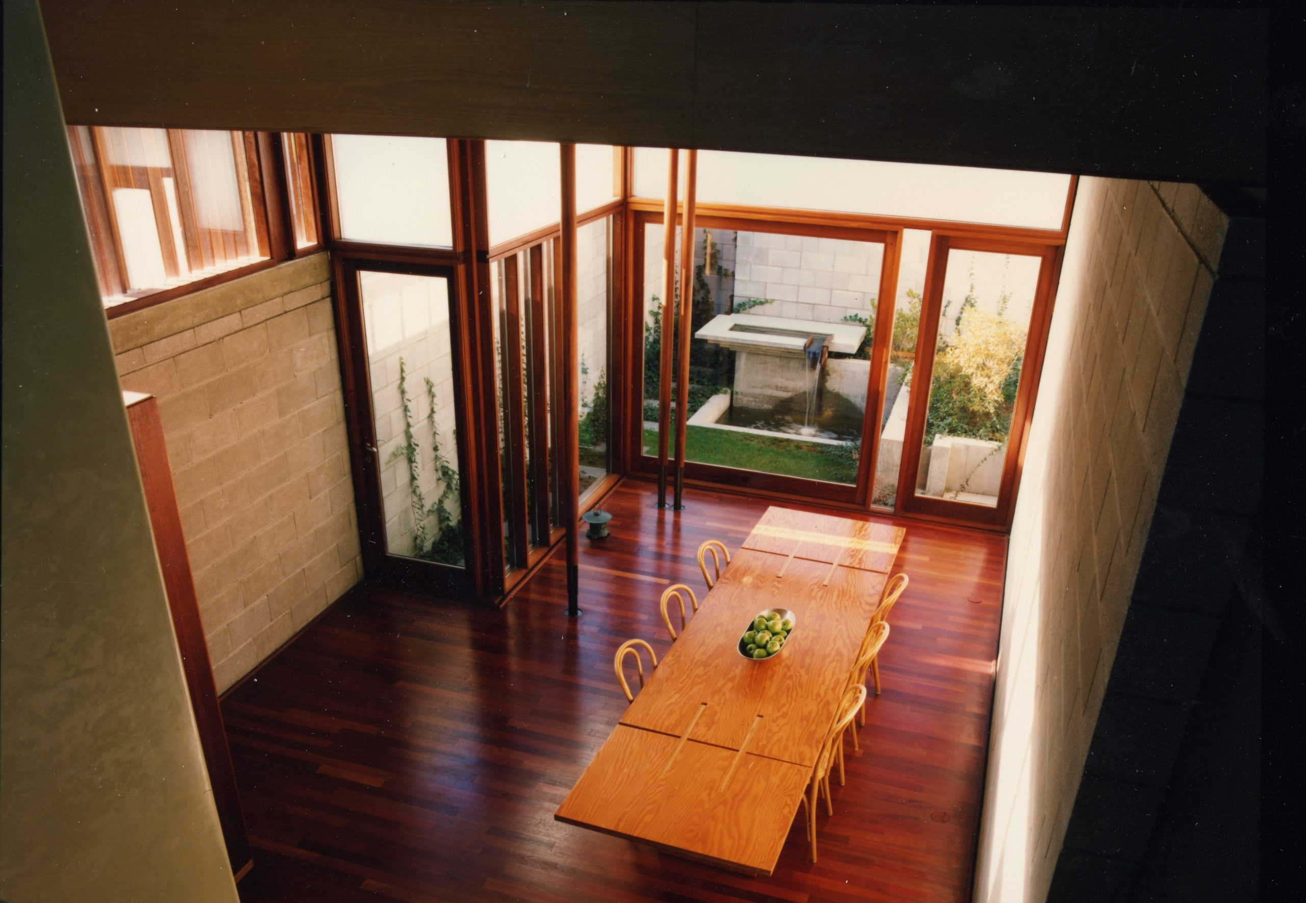 Interior view looking down to dining area
