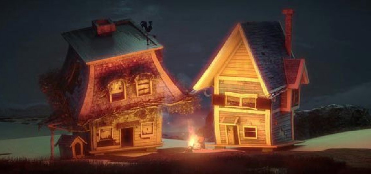 Two animated single family homes sit in front of a glowing campfire